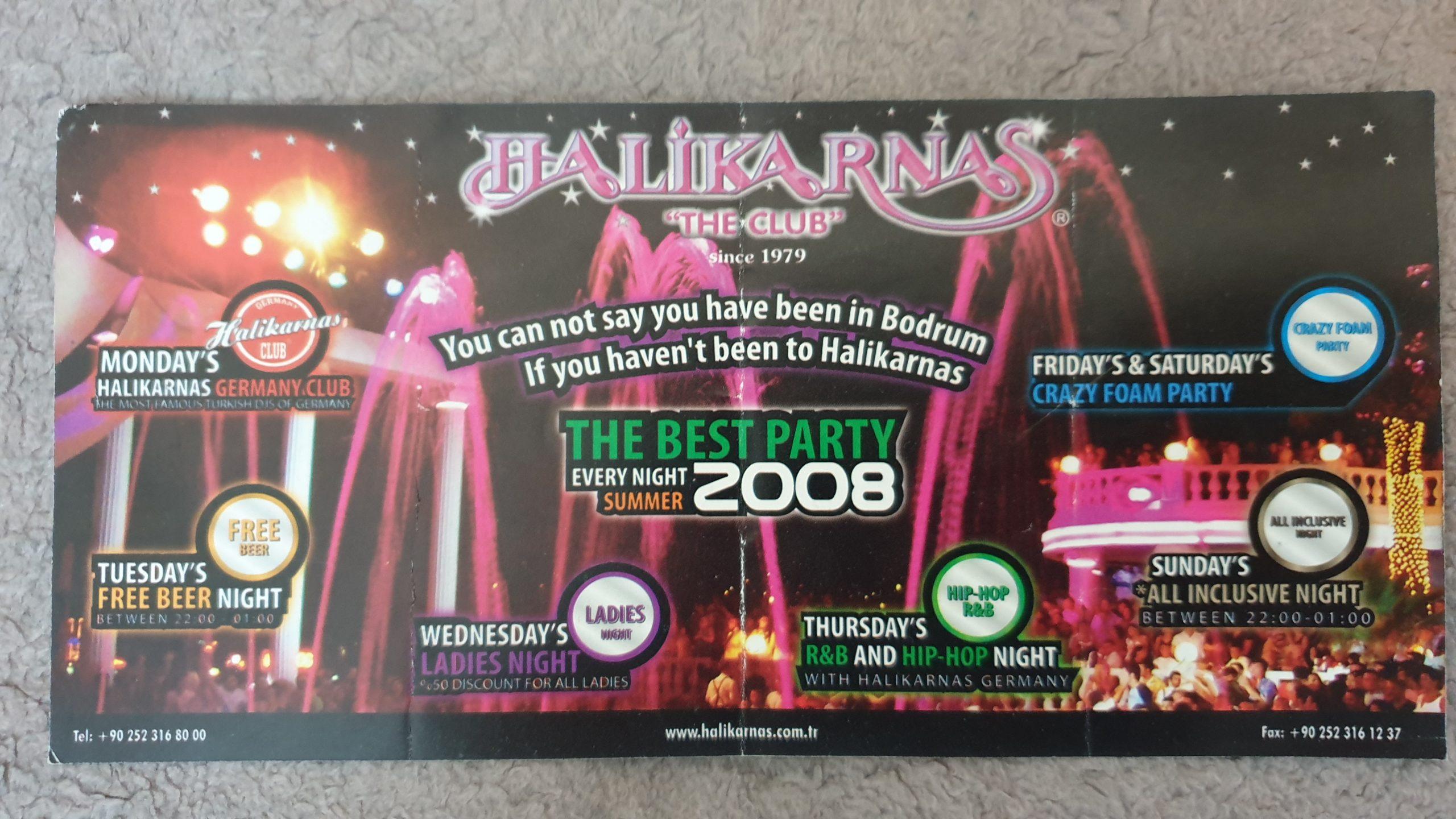 Флаер дискотеки Галикарнас в Бодруме (Турция) - Halikarnas Night Club